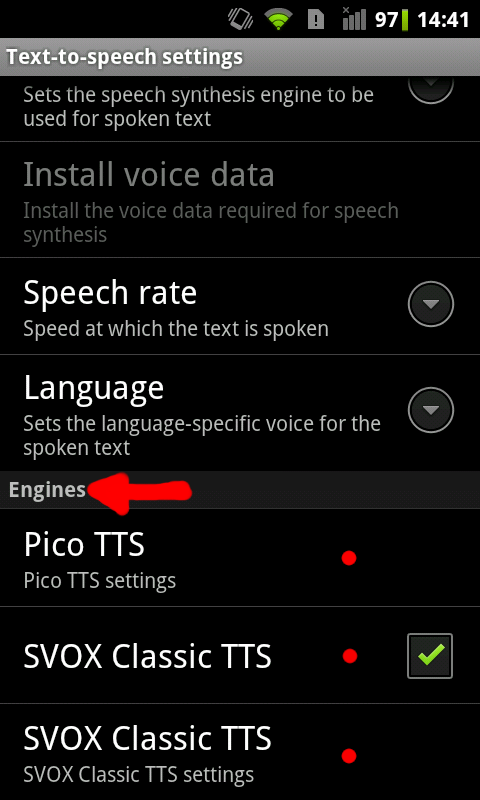 Changing Android Text-to-Speech (TTS) Engine (and other